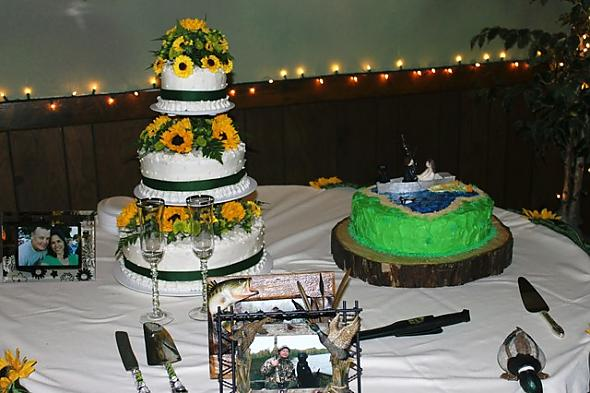 Sunflower wedding cake and an outdoorsman groom 39s cake