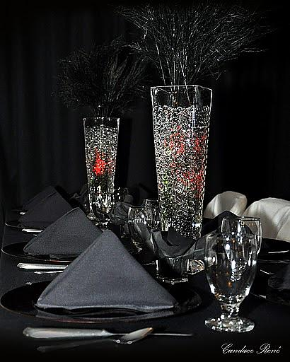 red and black centerpieces