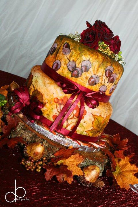 Hand Painted Fondant Wedding Cake For Barn Wedding In Virginia
