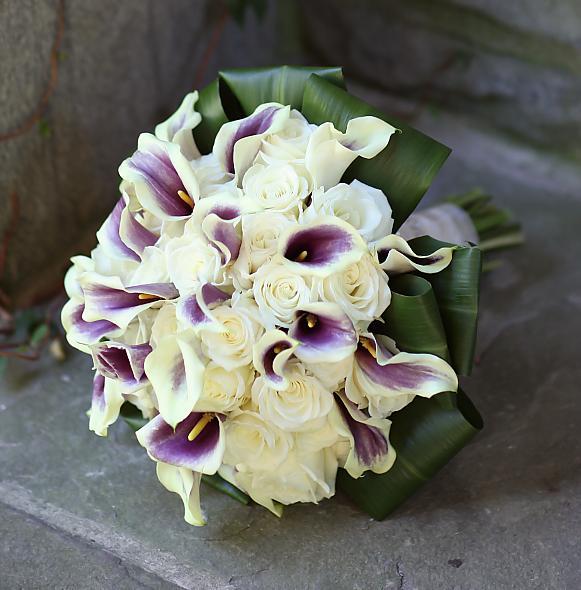 Picasso Calla Lillies White Roses Bridal Bouquet