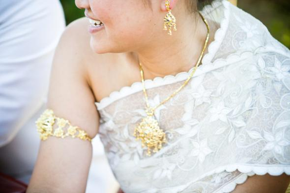 Mrs. Penguin's Thai Wedding Dress, Silver and Gold detailing, custom made
