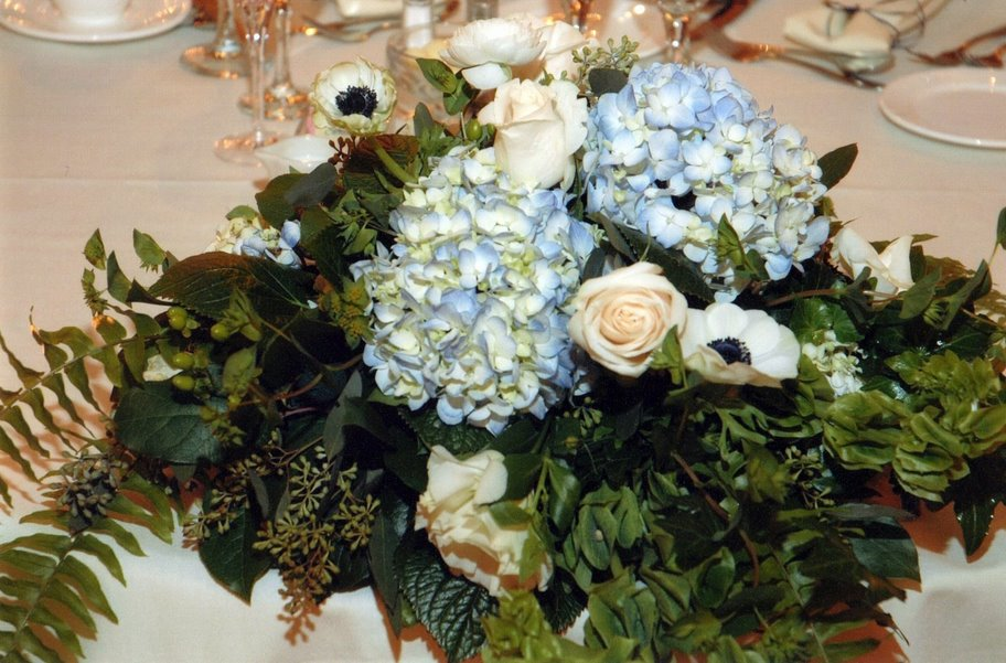 Blue white low centerpiece weddingbee photo gallery