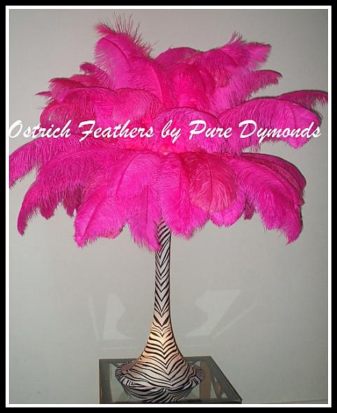 "Hot Pink and White  with Zebra 36"" Lighted Spandex Ostrich Feather Centerpiece"