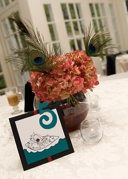 Centerpiece of red hydrangeas and peacock feathers in a fishbowl with