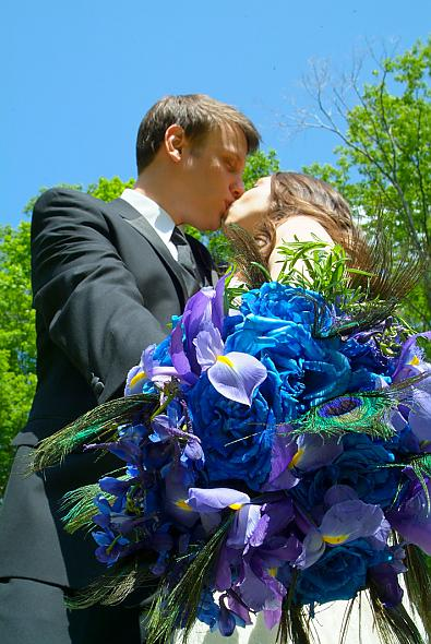 blue flowers bouquet. Blue bouquet with peacock