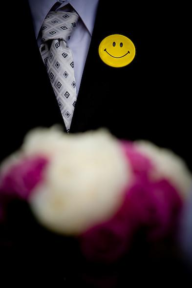 Smiley Face Button Boutonniere