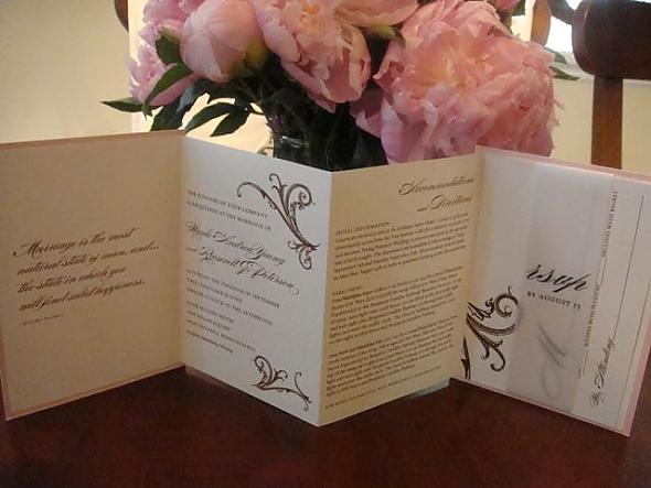 Pink & Brown Wedding Invitation