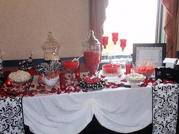 This is the black white and red candy bar we featured at our wedding