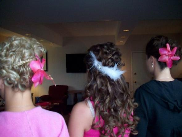 2 maids and bride wedding hair
