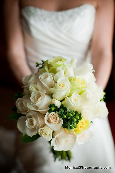 Ivory and Green Flowers, hypericum berries