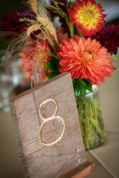 Mrs Cherry Pie's centerpieces dahlias and handmade wood table numbers