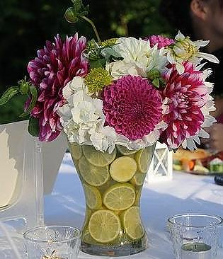 Unique Centerpiece using Lime Slices