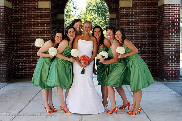 Colorful Bridesmaid Shoes and Surprisingly Beautiful Carnation Bouquets