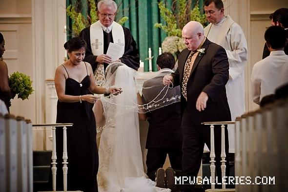 Filipino Wedding Ceremony of Cord Veil Candles and Coins