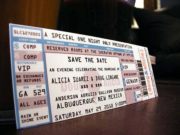 save the dates modeled to look like real concert tickets