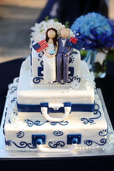 So we compromised and kept the cake in our blue and white theme