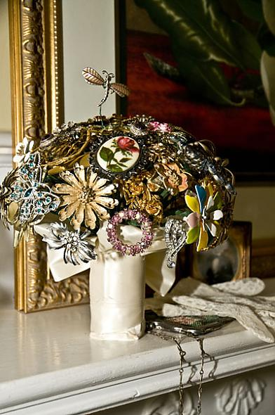 Brooch Bridal Bouquets made from vintage brooches