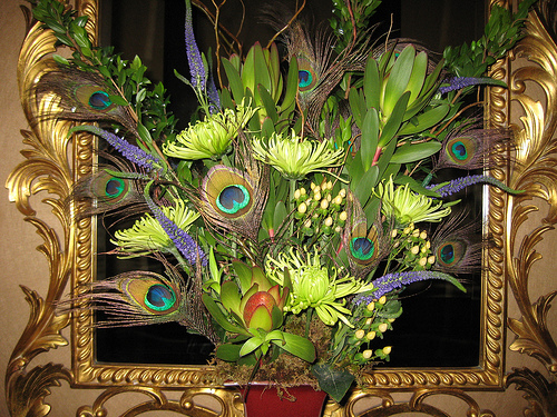 Peacock feathers and fuji mums weddingbee photo gallery