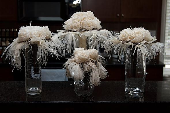 Frayed flower and feather bouquets.