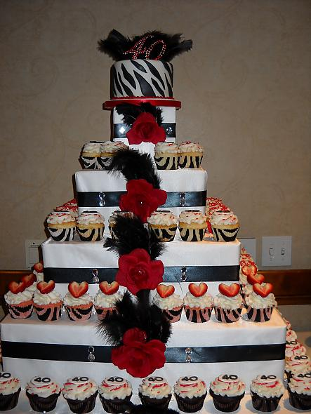 Black, Red, Bling and Zebra Cupcake Tower