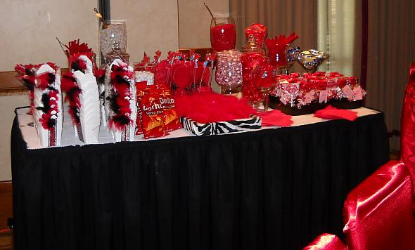 Red White Black and Zebra Candy Buffet I like the take out boxes with the