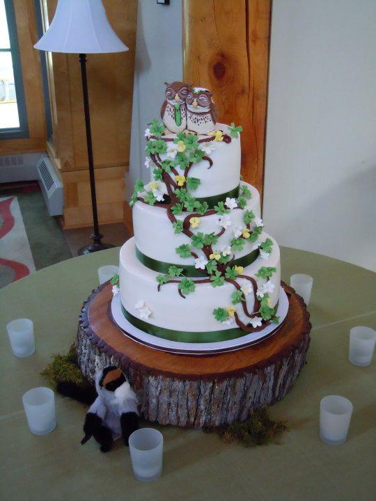Green White Yellow Owl Wedding Cake Weddingbee Photo