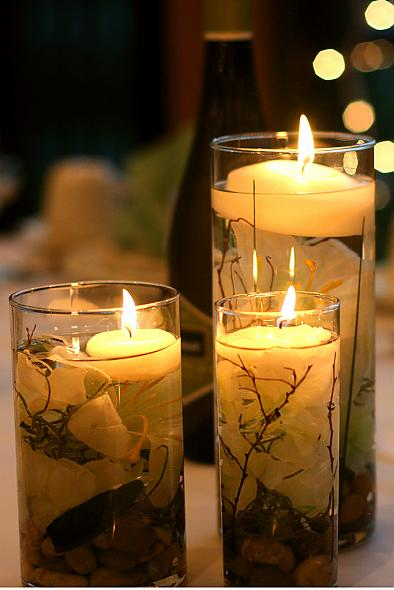 DIY submerged flower floating candle