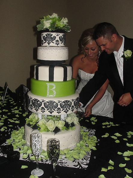 green and black damask wedding cake