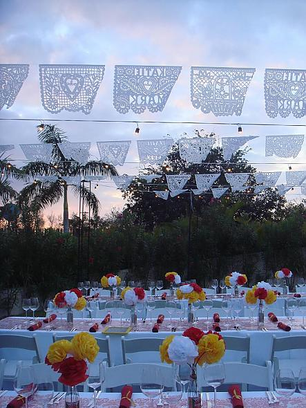 Papel Picado for reception and paper flowers