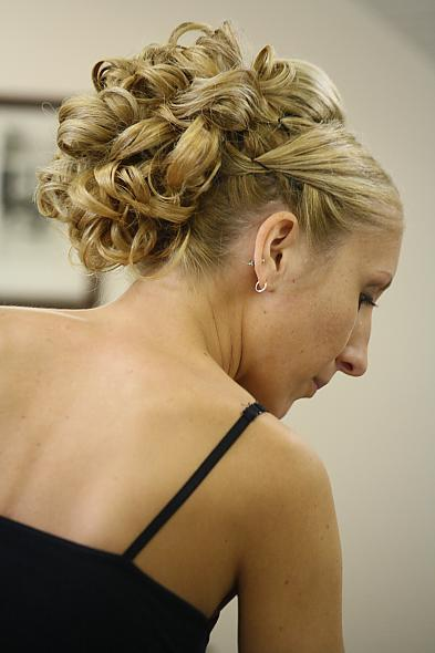 updo with 60 bobby pins a bumpit tiara and later on