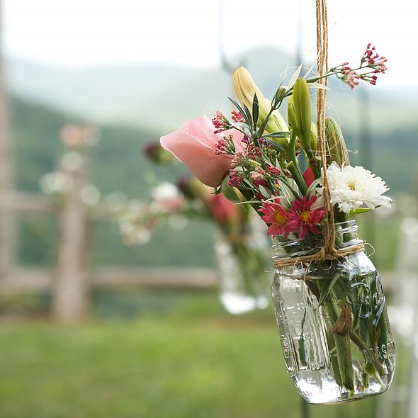 Hanging Mason Jars for Ceremony